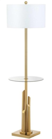 Ambrosio 61-inch H Floor Lamp Side Table - Brass / Gold Shade Color: Off-White