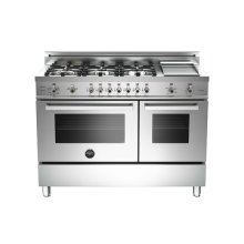Stainless 48 6-Burner + Gridlle, Gas Double Oven LP
