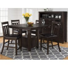 Kona Grove Counter Height Table With Six Slat Back Stools