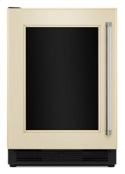"""24"""" Beverage Center with Glass Door and Stainless Steel Shelf Trim - Panel Ready Product Image"""