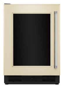 """24"""" Beverage Center with Glass Door and Stainless Steel Shelf Trim - Panel Ready"""