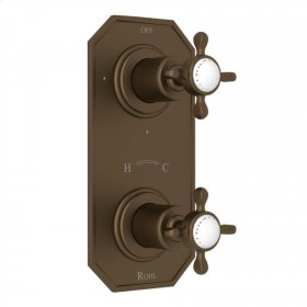 """English Bronze Perrin & Rowe Edwardian 1/2"""" Thermostatic/Diverter Control Trim with Edwardian Cross Handle"""