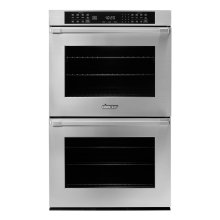 "27"" Heritage Double Wall Oven in Black Glass - ships with stainless steel Pro Style handle."