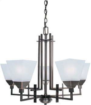 5-lite Ceiling Lamp, Cu W/frost Glass Shade, Type A 60wx5