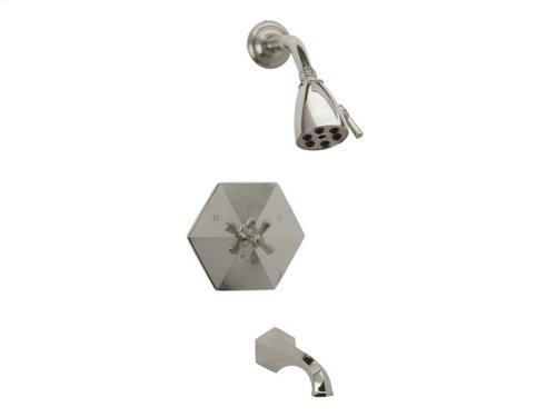 Pressure Balance Tub and Shower Set Cross Handle - Polished Nickel with Polished Gold