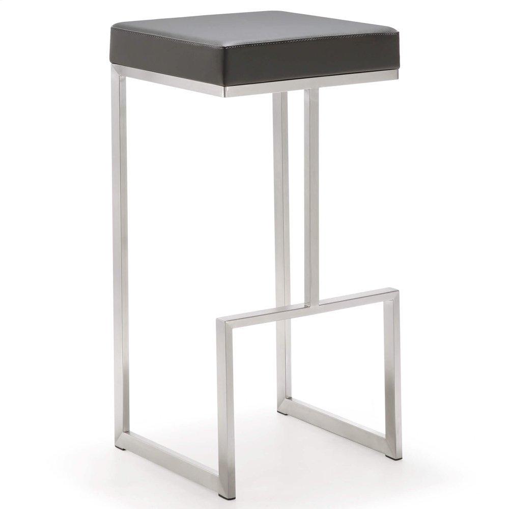 Ferrara Grey Stainless Steel Barstool - Set of 2