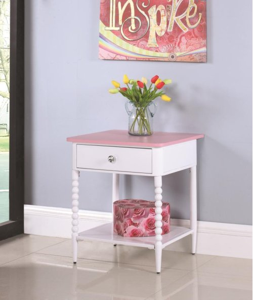 -NIGHTSTAND FINISHED IN PINK AND WHITE-BOBBIN MOTIF ON LEGS-TOP: PARTICLE BOARD WITH MELAMINE-STEEL FRAME FINISHED IN WHITE-FULL EXTENSION GLIDES-CRYSTAL KNOB-MATCHES (#400417T/F)