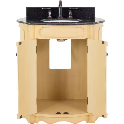 """32"""" elliptical vanity with antique crackled Buttercream finish, reed columns, and simple carvings all topped with preassembled top and bowl."""