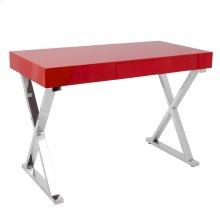 Luster Desk - Chrome, Red Mdf