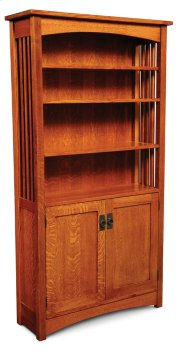 Mission Bookcase, Wood Doors on Bottom, Mission Bookcase, Wood Doors on Bottom, 4-Adjustable Shelves Product Image