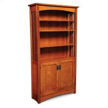 Mission Bookcase, Wood Doors on Bottom, Mission Bookcase, Wood Doors on Bottom, 5-Adjustable Shelves