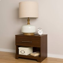 1-Drawer Nightstand - End Table with Storage - Brown Walnut
