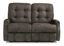Devon Fabric Power Reclining Loveseat with Power Headrests and Nailhead Trim