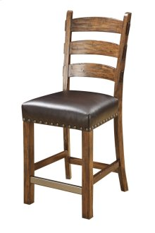 Ladderback Barstool W/dark Brown Pu Uph Seat & Nailhead Trim