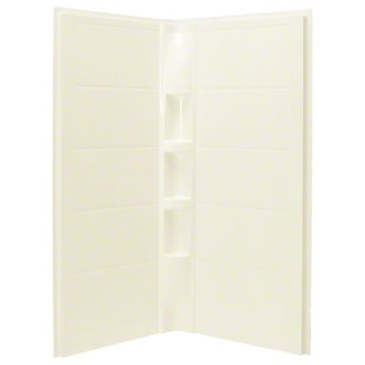 """Intrigue™ 39"""" x 39"""" x 75"""" Corner Shower with Age in Place Backers - Wall Set - KOHLER Biscuit"""