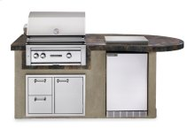 """The Deluxe Falcon Gray 30"""" Sedona Island Package includes Sedona 30"""" Grill with ProSear, Sedona Refrigerator, Double Side Burner and Door Drawer Combo. (L2500G)"""