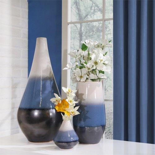 "Gray/blue/white Layered Vase 12.25"""