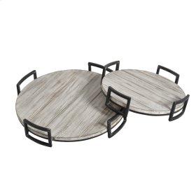 S/2 Round Wood Trays, Gray