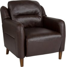 Newton Hill Upholstered Bustle Back Arm Chair in Brown Leather