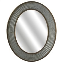 Ribbed Oval Galvanized Mirror.