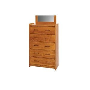 Heartland 5 Drawer Chest with options: Chocolate