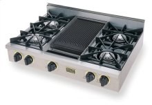 """36"""" Gas Cooktop, Open Burners, Stainless Steel with Brass"""