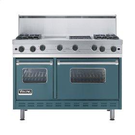 "Iridescent Blue 48"" Open Burner Commercial Depth Range - VGRC (48"" wide, four burners 12"" wide griddle/simmer plate 12"" wide char-grill)"