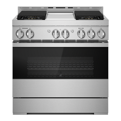 """Jennair36"""" Noir Gas Professional-Style Range With Chrome-Infused Griddle"""