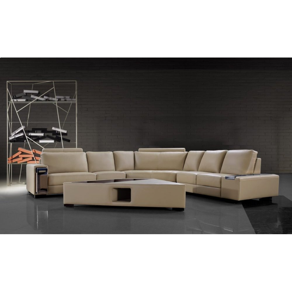 Divani Casa Tera - Beige Bonded Leather Sectional Sofa with Coffee Table