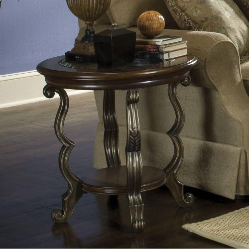 Ambrosia - Round Side Table - Terra Sienna Finish