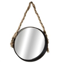 Large Wall Mirror with Twisted Rope Hanger