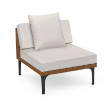 """32"""" Outdoor Tan Rattan 1 Seat Centre Sofa Sectional, Upholstered in COM"""