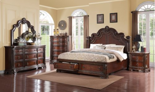 Emerald Home Riviera Queen Panel Bed Kit W/storage Drawers Brown Cherry B621-10stor-k