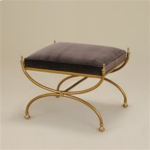 CLASSIC BRASS FINISHED IRON BE NCH WITH MAHOGANY VELVET UPHOL STERY