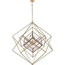 Visual Comfort KW5022G-CG Kelly Wearstler Cubist 5 Light 45 inch Gild Pendant Ceiling Light, Kelly Wearstler, Large, Chandelier, Clear Glass