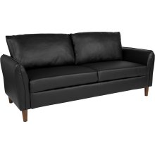 Milton Park Upholstered Plush Pillow Back Sofa in Black Leather