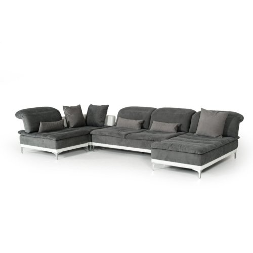 Tremendous David Ferrari Horizon Modern Grey Fabric Leather Sectional Sofa Onthecornerstone Fun Painted Chair Ideas Images Onthecornerstoneorg