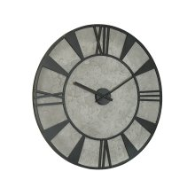 Cement Grey Metal Industrial Wall Clock