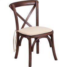 Stackable Kids Mahogany Wood Cross Back Chair with Cushion