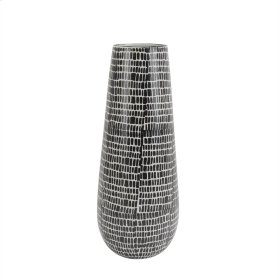 "Ceramic Vase 18"", Black Cobblestone"