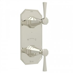 "Polished Nickel Perrin & Rowe Deco 1/2"" Thermostatic/Diverter Control Trim with Deco Metal Lever"