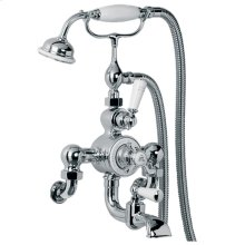 Exposed thermostatic bath and shower valve with cradle and classic handset Wall mounted