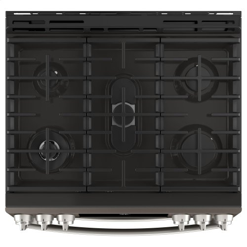 "GE Profile™ 30"" Slide-In Front-Control Gas Double Oven Convection Range"