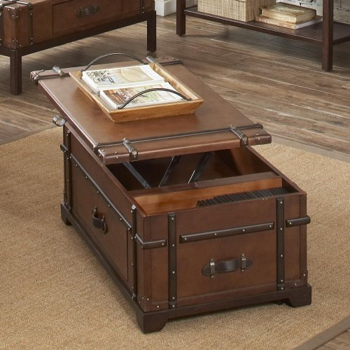 Latitudes - Steamer Trunk Lift Top Coffee Table - Aged Cognac Finish