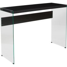 Highwood Collection Dark Ash Wood Grain Finish Console Table with Shelves and Glass Frame