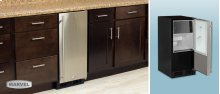 """15"""" Clear Ice Machine - With Factory-Installed Drain Pump - Solid Panel Overlay Ready Door - Right Hinge - Floor Model"""