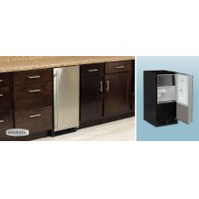 "15"" Clear Ice Machine - No Factory-Installed Drain Pump - Solid Panel Overlay Ready Door - Right Hinge - Floor Model"