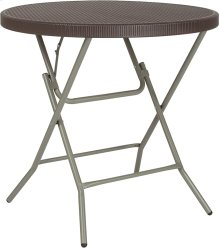31.5'' Round Brown Rattan Plastic Folding Table [DAD-FT-80R-GG