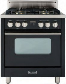 "High Gloss Black 30"" Gas Range with Convection Oven"