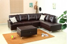 Mira Chocolate Brown Sectional with Storage Ottoman